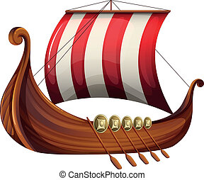 A viking's ship - Illustration of a viking's ship on a white...