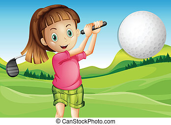 Girl playing golf - Illustration of a girl playing golf