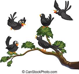 Black birds - Illustration of many black  birds on a branch