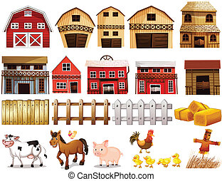Farm set - Illustration of different pictures of farm