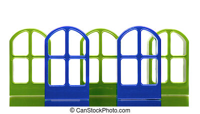 Five transparent door frames of blue and green colors