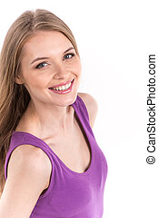 Portrait of beautiful girl on white background. Young beautiful woman portrait. Isolated over white background.