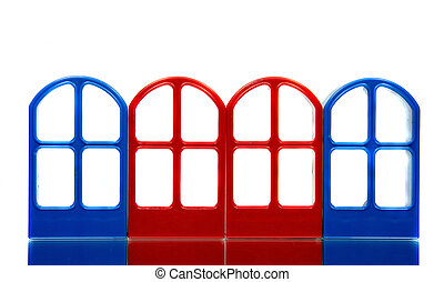 Four empty door frames - Four empty transparent door frames...