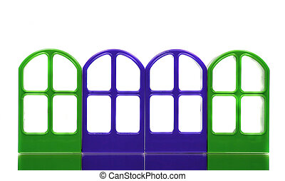 Four green blue emptry door frames - Four green blue empty...