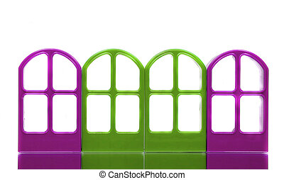 Four purple green empty door frames - Four purple green...