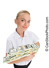young businesswoman holding money and smiling closeup of...