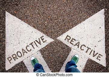 Proactive and reactive dilemma concept with man legs from...