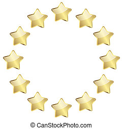golden stars in a circle - vector of twelve golden stars in...