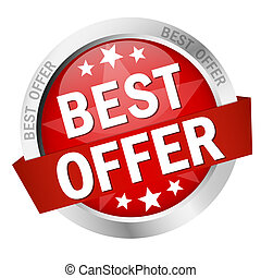 Button - best offer - vector of colored button - best offer