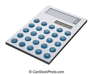 Calculator isolated on white - Contemporary metal calculator...