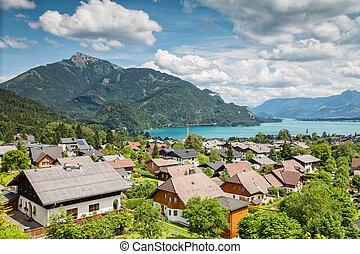 gilgen,  wolfgangsee,  Austria, villaggio,  ST