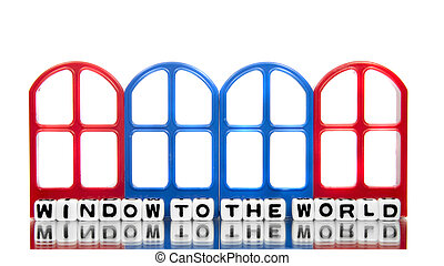 Window to the world text message with four door frames.