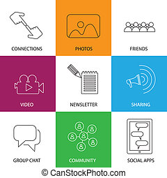 social media icons of friends, community, videos & photos -...