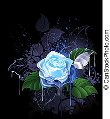 blue rose with green leaves on a black background spattered...