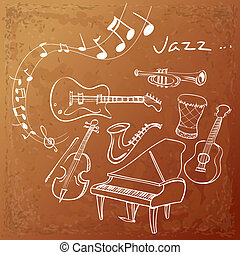 Jazz Instrument Background - Vector illustration of Jazz...