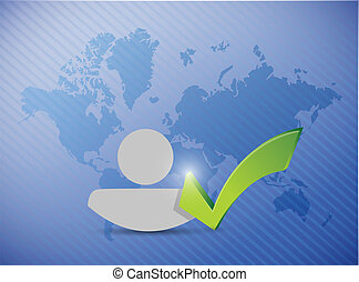 world map avatar check mark illustration design over a blue...