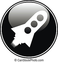 Starting rocket button on white background. Vector...