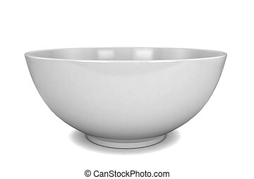 Empty bowl 3d illustration isolated on white background