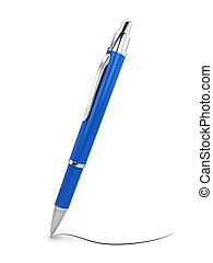 Single pen. 3d illustration isolated on white background