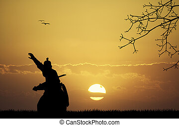 Samurai at sunset - illustration of samurai at sunset