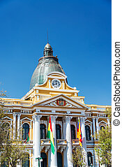 La Paz, Bolivia Legislature Building - Vertical view of the...