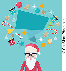 Santa Claus wearing glasses with a speech bubble
