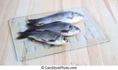 Three fishes. - Three fishes over glass board.