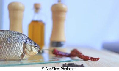 Fresh fish with olive oil - Fresh fish with olive oil on the...