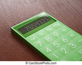Green calculator on wooden table - Contemporary calculator...