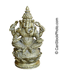 Hindu Deity Ganesha statue.Isolated.