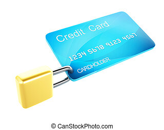 Credit Card and lock.safe banking concept on white...