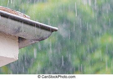 Rain, rain drops, shower, gutter - Overlooking a roof gutter...