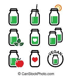 Green shake, green smoothie jar - Healthy, vegan drink in...