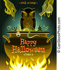 Halloween vector illustration - witch cooks poison potion in...