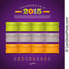 Vector template design - calendar of 2015 year with holidays icons
