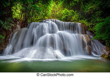 Level three of Huai Mae Kamin Waterfall in Kanchanaburi...