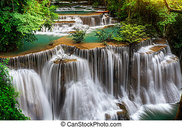 Main level of Huai Mae Kamin Waterfall in Kanchanaburi...