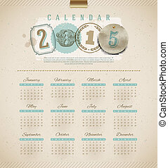 Vintage calendar 2015 - vector illustration