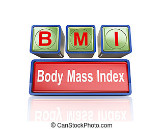 3d boxes of concept of bmi