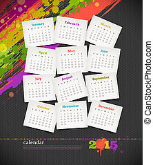 Vector illustration - calendar 2015 with grunge color blots