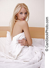 beautiful blonde in bed - Beautiful sexy young adult...