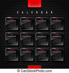 Vector template calendar 2015 - glass frames with month on a...