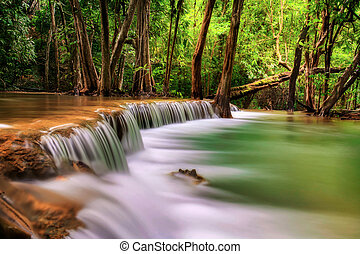 Second level of Erawan Waterfall in Kanchanaburi Province,...