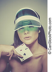 Beautiful young woman winning hand