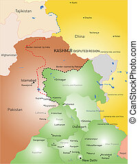 Kashmir - Vector color Kashmir region map