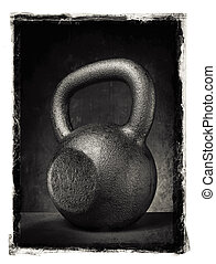 Kettlebell - Grunge photo of a rough and heavy kettlebell.