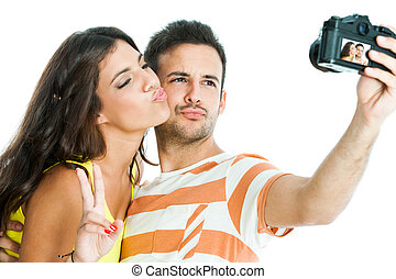 Couple taking fun selfie. - Fun portrait of cute couple...