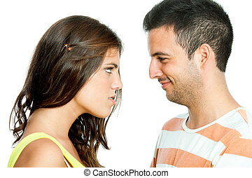 Furious girl looking at boyfriend. - Close up portrait of...