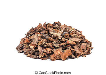 bark - heap of pine bark isolated