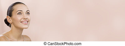 spa banner - Portrait of nice young gorgeous woman on pink...